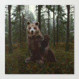 Bear Waving Hello Canvas Print