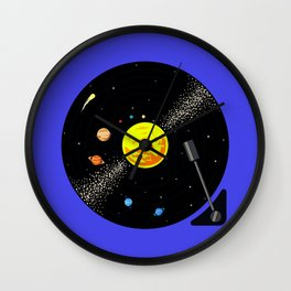 Solar System Vinyl Record Wall Clock