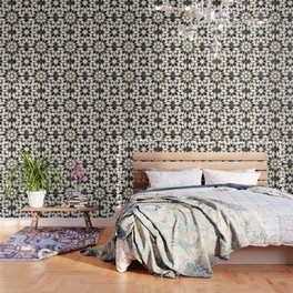 Black and white marble Moroccan mosaic Wallpaper