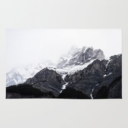 Moody snow capped Mountain Peaks - Nature Photography Rug