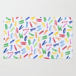 Watercolor Alphabet Pattern Rug