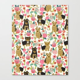 Yorkshire Terrier cute florals must have gifts for dog lover yorkie owners delight secret gifts art Canvas Print