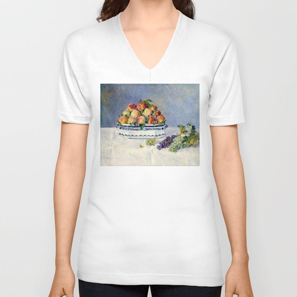 "Auguste Renoir """"still Life With Peaches And Grapes… Unisex V-neck by Alexandra_arts"" VNT9097175"