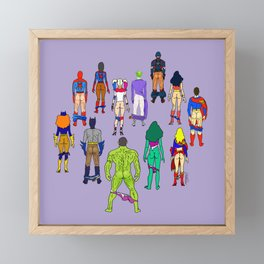 Superhero Butts - Power Couple on Violet Framed Mini Art Print