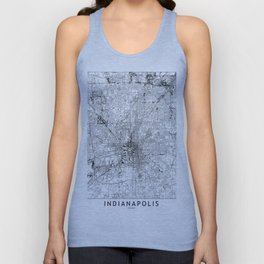 Indianapolis White Map Unisex Tank Top