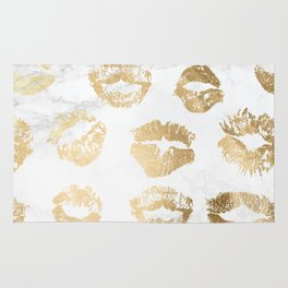 Fashion Lips Gold Lipstick on Marble Rug