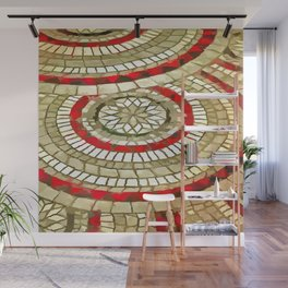 Mosaic Circular Pattern In Red and Gold Wall Mural