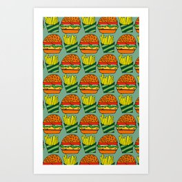 burger vegetarian and french fries Art Print