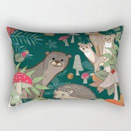 Animals In The Woods Rectangular Pillow