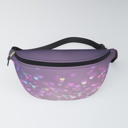 Pretty Purple Gradient Bokeh Love Hearts Fanny Pack