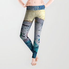 Twilight: a beautiful, abstract watercolor + mixed-media piece in blue, gold, purple, pink, + black Leggings