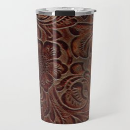 Burnished Rich Brown Tooled Leather Travel Mug