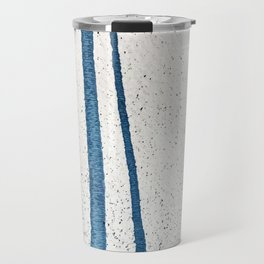 Parallel Universe [vertical]: a pretty, minimal, abstract piece in lines of vibrant blue and white Travel Mug