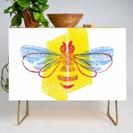 Be Safe - Save Bees linocut Credenza