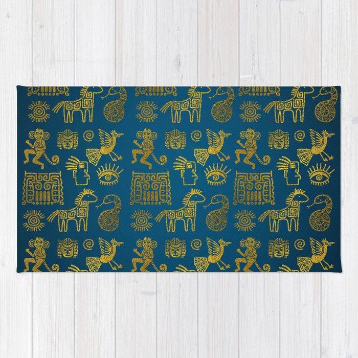 Aztec Ancient Animal Gold Symbols On Teal Rug By K9printart Society6