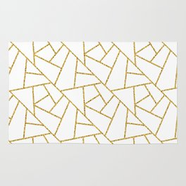 Gold and White Abstract Geometric Glitter Pattern Rug