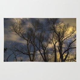 Enchanting Nighttime Trees and Sky Rug
