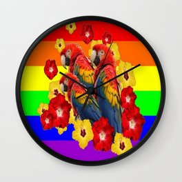 TROPICAL RAINBOW ART MACAWS & RED YELLOW HIBISCUS Wall Clock