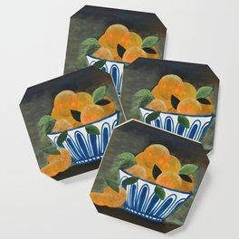 Still Life Oranges in Blue Bowl Coaster