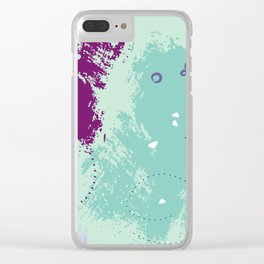 Mint viole strokes Clear iPhone Case