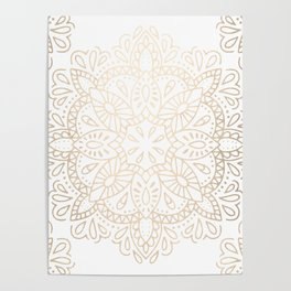 Mandala White Gold Shimmer by Nature Magick Poster