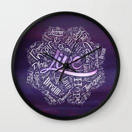 Inspirational  Word Cloud Art in Lotus Wall Clock