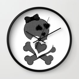 Skull Lace  - Crossbones Heart Illustration Wall Clock