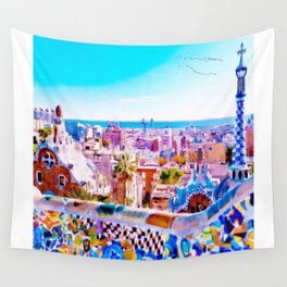 Park Guell Watercolor painting Wall Tapestry