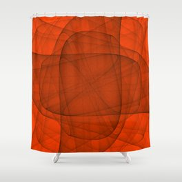 Fractal Eternal Rounded Cross in Red Shower Curtain