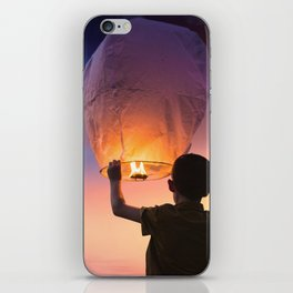 Boy Releasing Chinese Lanterns to the Sky iPhone Skin