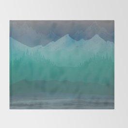 Ombre Mountainscape (Blue, Aqua) Throw Blanket