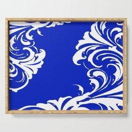 Damask Blue and White Victorian Swirl Damask Pattern Serving Tray