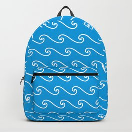 Wave Pattern | Turquoise Blue and White Backpack