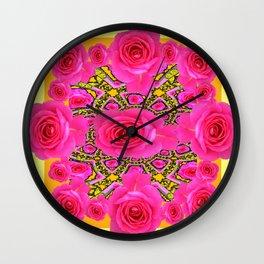 Quilted Pink Rose Garden Yellow Design Art. Wall Clock