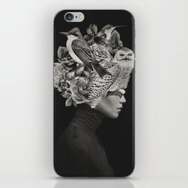 Lady with Birds(portrait) iPhone Skin