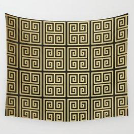 Black and gold high fashion Greek key pattern Wall Tapestry