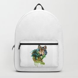 Wolf face watercolor painting Backpack