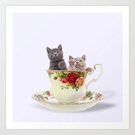 Tea Cup Kitties Art Print
