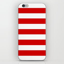 Rosso corsa - solid color - white stripes pattern iPhone Skin