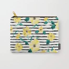 Happy flowers Stripe Carry-All Pouch