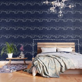 Navy on White London Street Map Wallpaper
