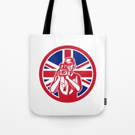 British Cameraman Union Jack Flag Icon Tote Bag