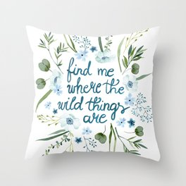 Floral Quote Blue Throw Pillow