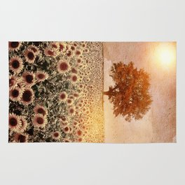 lone tree & sunflowers field (colour option) Rug