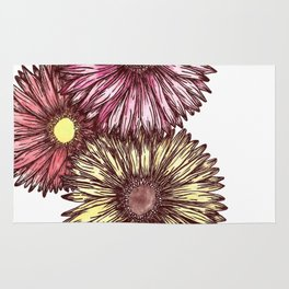 Pink and Yellow Gerber Daisies Watercolor and Ink Painting Rug