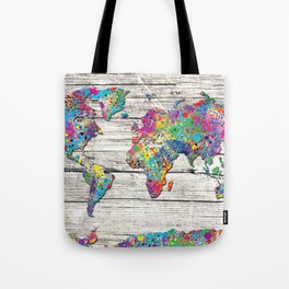 world map wood 4 Tote Bag