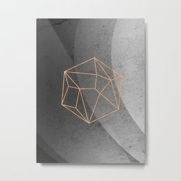 Geometric Solids on Marble Metal Print