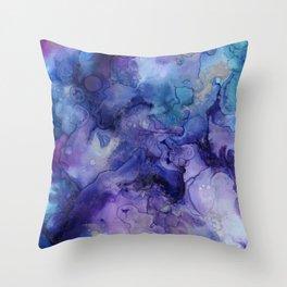 Abstract Watercolor Coastal, Indigo, Blue, Purple Throw Pillow