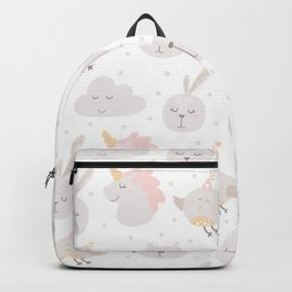 Pastel pink gray cute magical funny unicorn animals Backpack