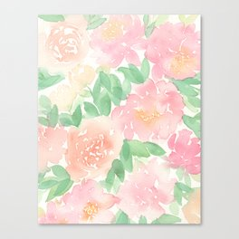 Pink Peonies and Roses Canvas Print